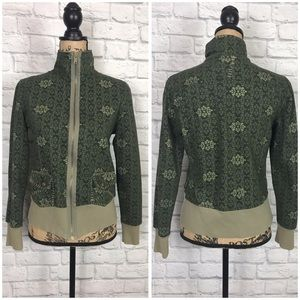 PrAna Sage Green Patterned Zip Up Jacket Sz Medium